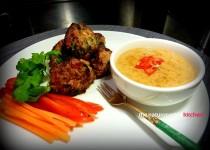 Spicy Chicken Balls with Cashew Satay Sauce