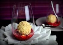 Mango Coconut Ice Cream with Raspberry Coulis